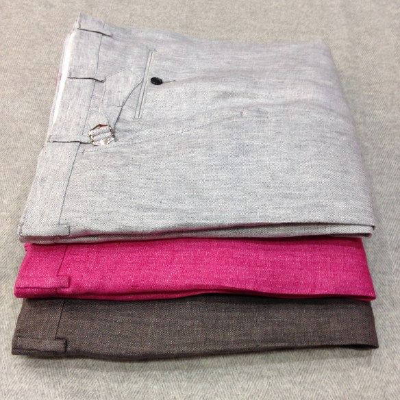 Dark Grey, Fuchsia and Light Grey Linen (100% Linen)
