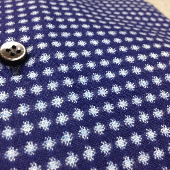Dark Blue Brushed Cotton with woven design
