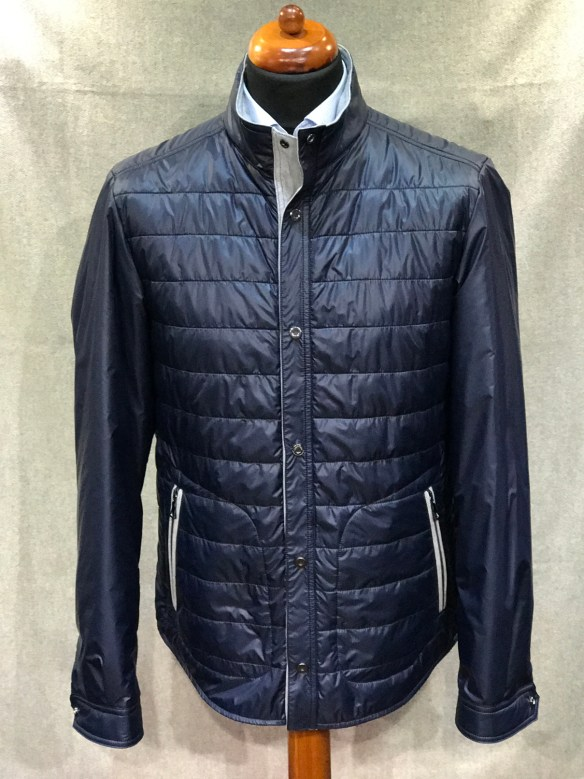 Blue Nylon Micro Down filled Coat