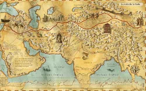 Mapa antic de la Ruta de La Seda - Any 1159