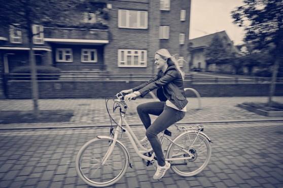 Woman riding an electric bike