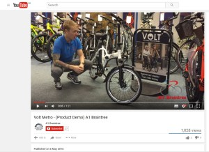 A1 Braintree demonstrates the VOLT Metro e-bike in a YouTube video