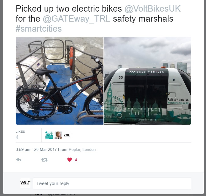 Tweet featuring a VOLT Pulse e-bike and driverless car Harry