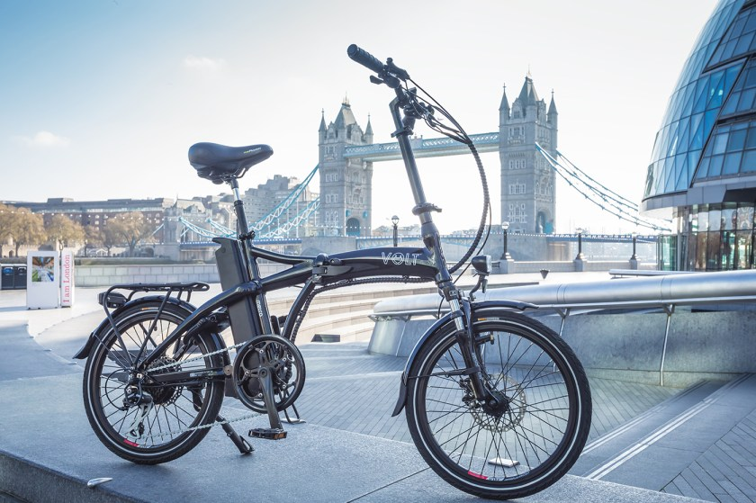 The VOLT Metro folding e-bike in front of London's Tower Bridge