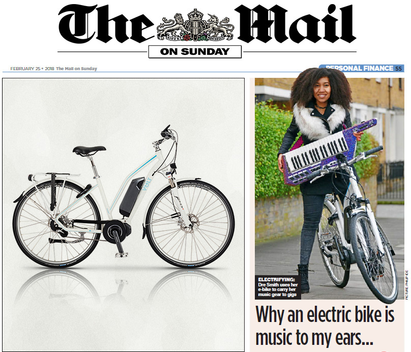 Musician Dregas rides a VOLT electric bike in The Mail on Sunday