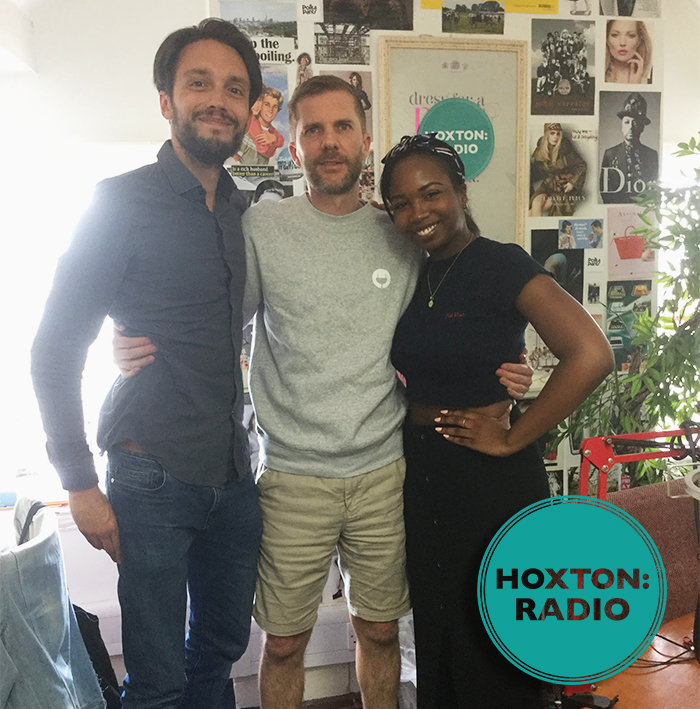 VOLT Bikes Director James Metcalfe poses with Hoxton Radio DJs