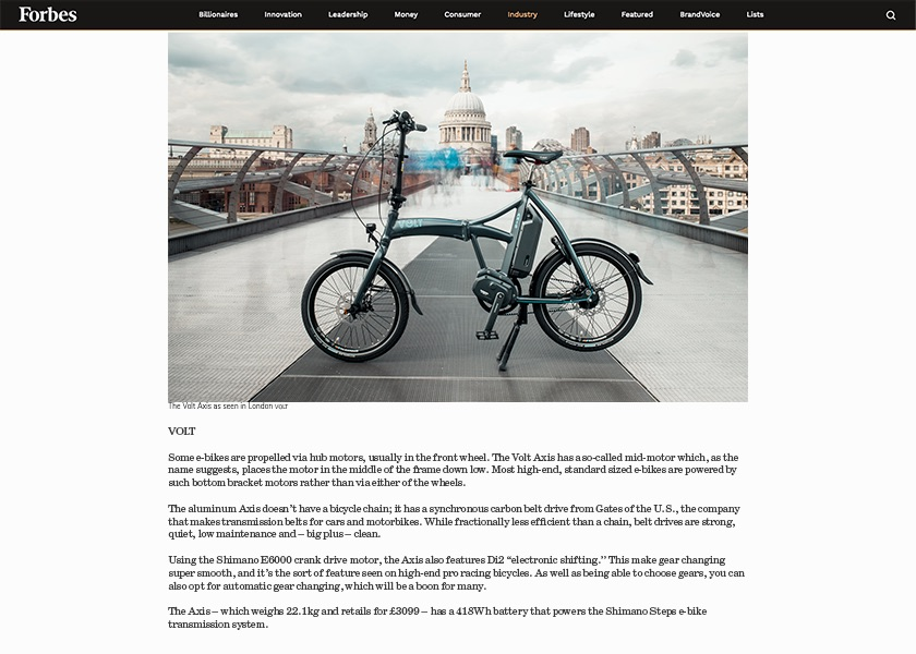 Beautiful photo of Volt Axis folding electric bike at Millennium Bridge