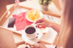 Woman with Morning Coffee & Breakfast