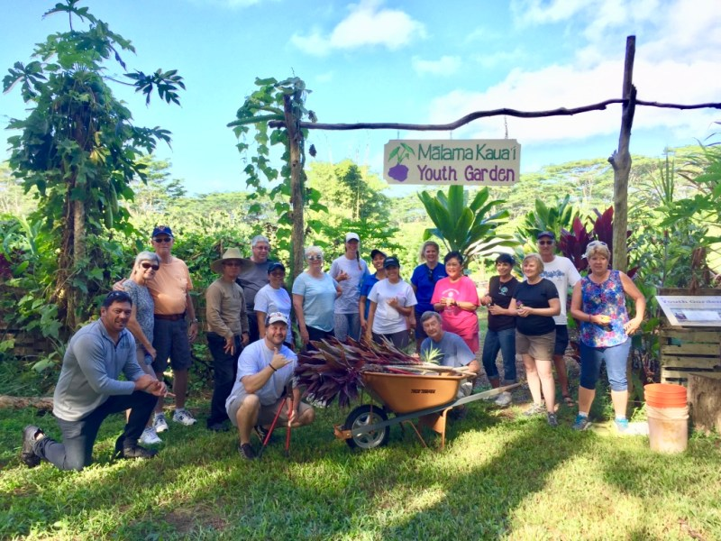 board retreat group volunteering on kauai