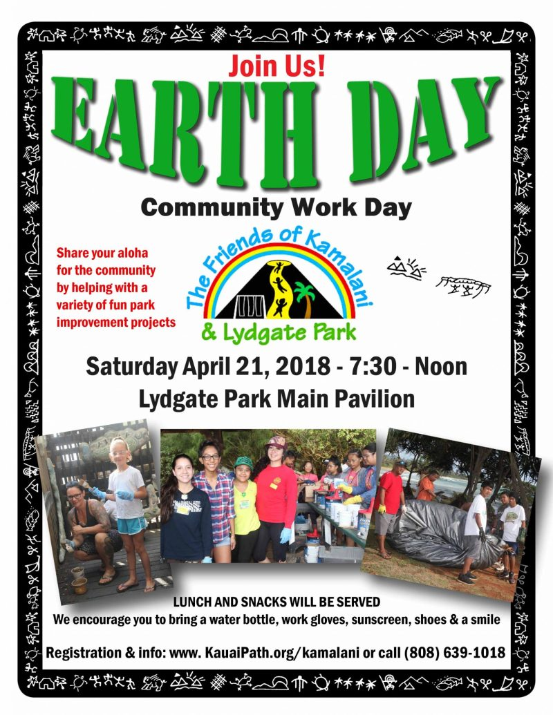 Friends of Kamalani and Lydgate Park Earth Day 2018