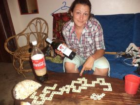 Jen with wine & bananagrams