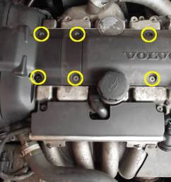 first of all you need to remove the top plastic covers of the engine to do this undo and remove the 6 screws highlighted in the yellow circles  [ 1024 x 768 Pixel ]