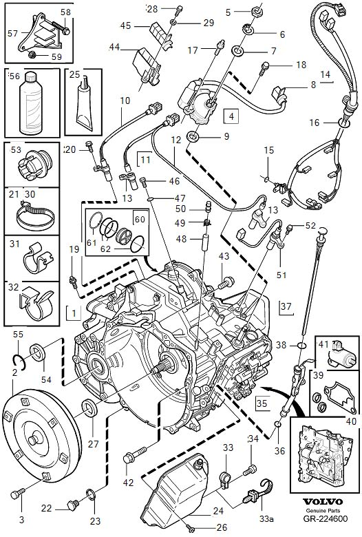 Volvo V70 Transmission, automatic related parts AW55-50/51SN