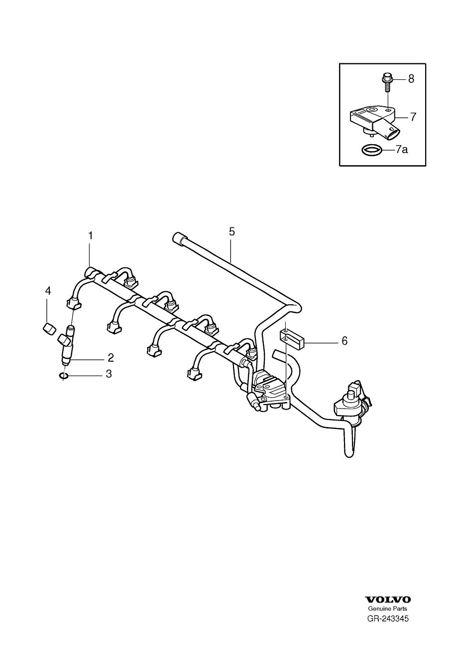 2008 Volvo Injector and high-pressure line 8-Cylinder