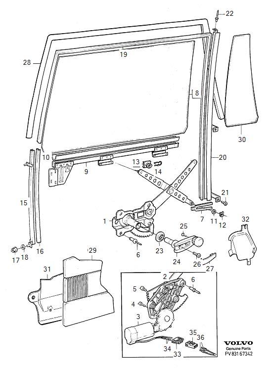Volvo Window lift mechanism rear door 1994