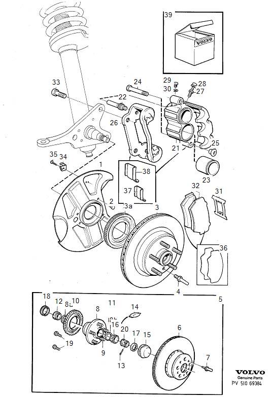Volvo Front wheel brake, ventilated disc dba, abs, VIN
