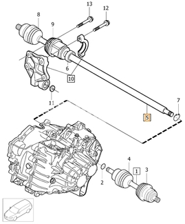 Drive shaft right 5 cylinder engines D3/D4/2.4D P3 XC60