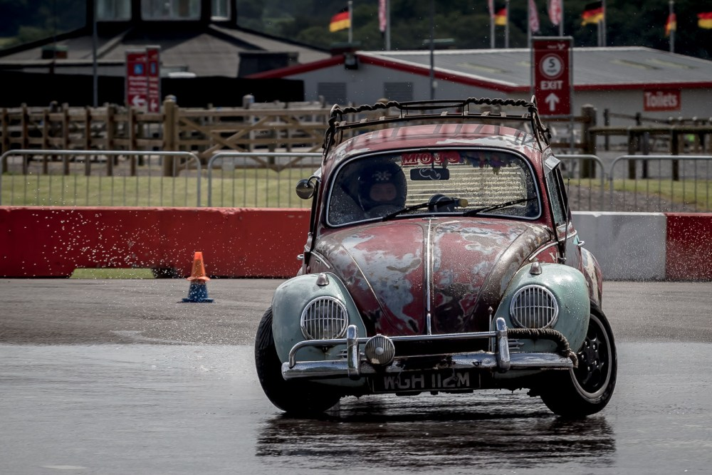 VW Beetle drifting
