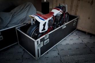 Honda flat tracker motorbike in flight case