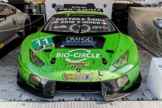 Green Lamborghini Huracan GT3 looking angry