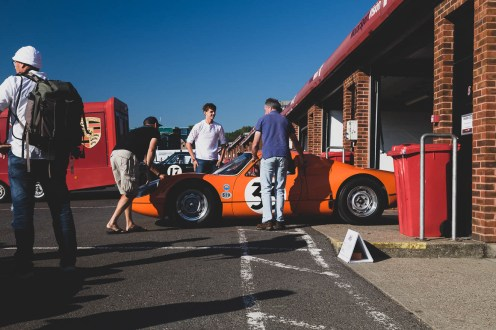 Orange Porsche 904 Carrera GTS in the pits at Brands Hatch