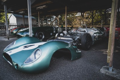 Half naked 1952 Jaguar C-Type, Goodwood Revival.