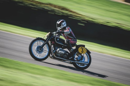 Klaus Ottlinger racing hard on this 1937 BMW R5SS in the Barry Sheene Memorial Trophy, Goodwood Revival.