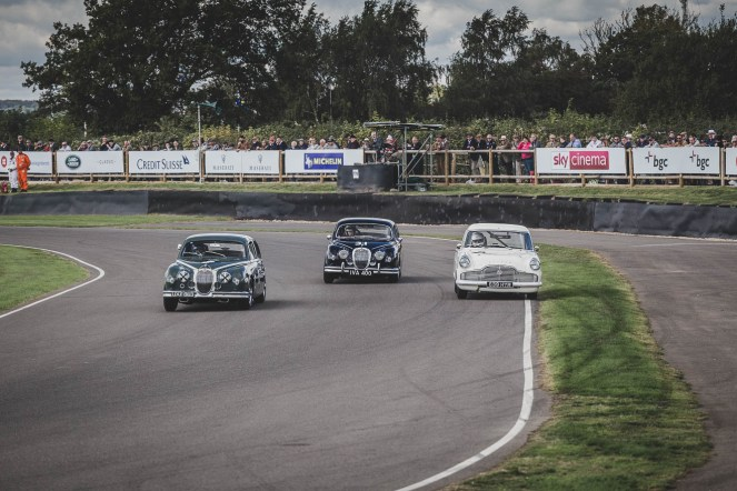 British steel going head to head round Woodcote, Goodwood Revival.