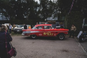 Red 1957 Chevy gasser drag race car