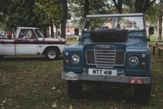 British Series 3 Land Rover and American Ford F100