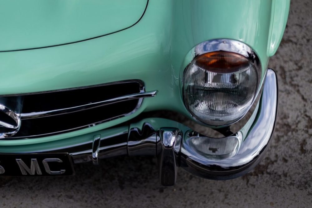 Close up of Mercedes headlight