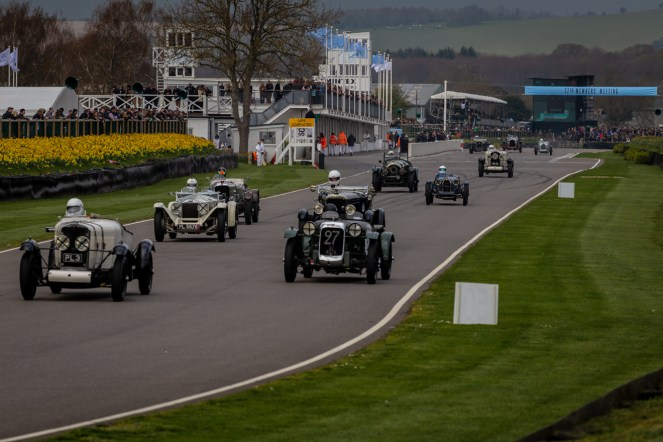 Vintage sports cars racing at Goodwood
