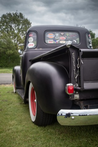 Black hot rod Chevy pick up truck