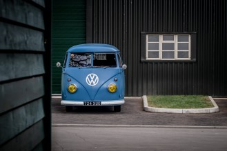Blue Volkswagen bus