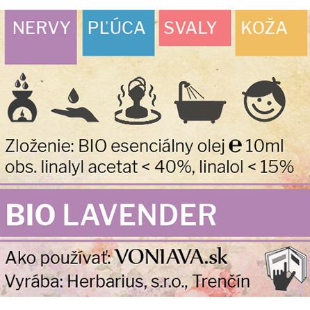 Etiketa EO Organická Levanduľa