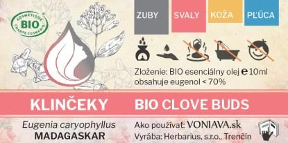 EO Organické KLINČEKY etiketa Voniava