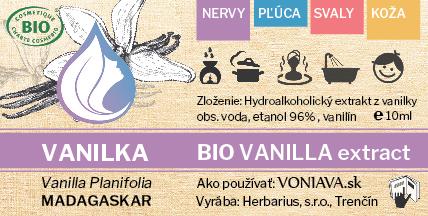 Vanilka, hydroalkoholický extrakt, voniava, etiketa