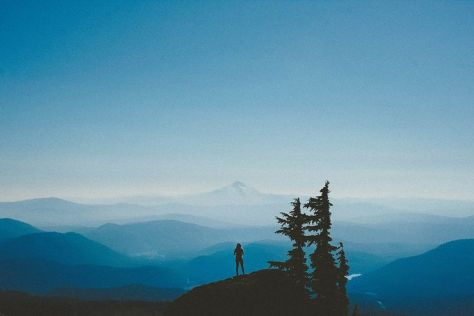Mt Hood - person standing -expansive view