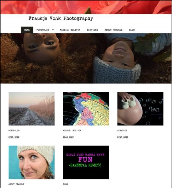 Nabouwen van website Fraukje Vonk Photography in WordPress, inclusief verhuizen en hosting.