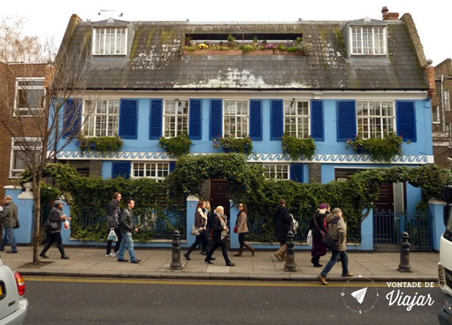 Londres - Portobello Road - casas coloridas em Notting Hill