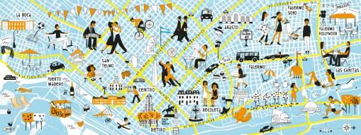 Mapa ilustrado - Buenos Aires by Anna Mendes