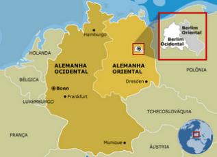 Mapa da Alemanha Oriental e a divisão de Berlim
