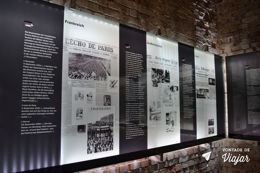 Centro de Documentacao de Nuremberg - Jornais do mundo todo noticiam a Segunda Guerra