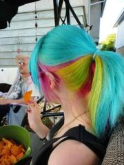 people working rainbow hair