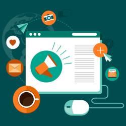 Ilustração de uma tela de navegador de internet com imagens de assuntos para blogs