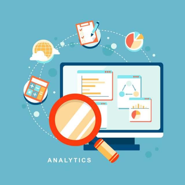Métricas do Google Analytics. Ilustração de um monitor de computador e vários ícones saindo da tela.