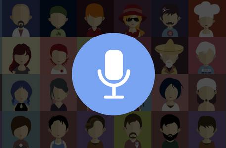 Ilustração de um microfone de narração e diversas ilustrações de retratos de pessoas ao fundo.