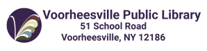 Voorheesville Public Library logo and address. Phone us at 518 765 2791. 51 School Road, Voorheesville, NY 12186