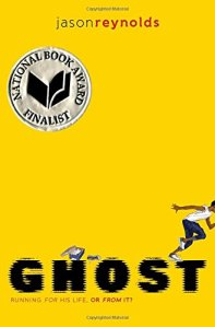 Ghost book cover by Jason Reynolds. Bright yellow background with a young man running off of the cover in a sprint.
