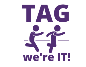 Teen Advisory Group logo. Two people playing the game tag.